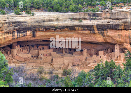 Anasazi Ruins, Cliff Palace, dating from between 600 AD and 1300 AD, Mesa Verde National Park, UNESCO, Colorado, - Stock Photo