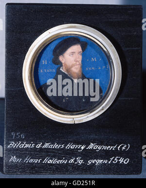 fine arts, Holbein, Hans the Younger (1498 - 1543), miniature, portrait of the painter H. Maynert, oil on canvas, - Stock Photo