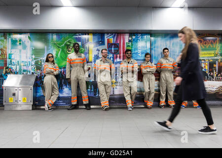 London, UK. 11 July 2016. Commuters came face-to-face with Ghostbusters at Waterloo Station. The rebooted Ghostbusters - Stock Photo