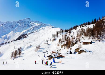 Courmayeur ski resort, Aosta Valley, Italian Alps, Italy, Europe - Stock Photo