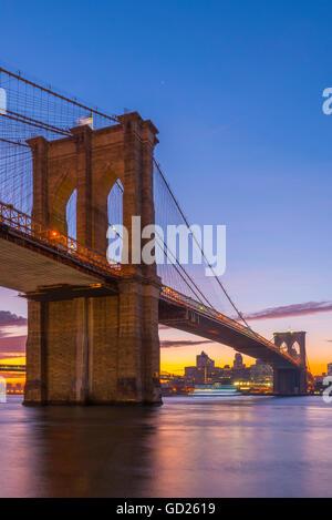 Brooklyn Bridge over East River, New York, United States of America, North America - Stock Photo