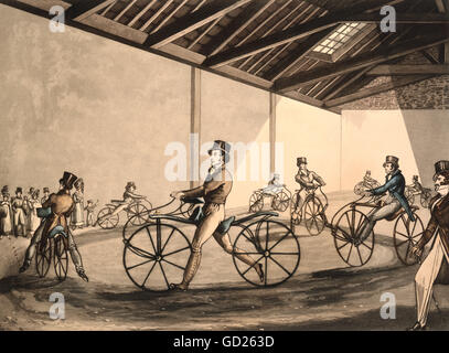 transport / transportation, two-wheeled vehicles, handcar with driver, Johnson's Pedestrian Hobbyhorse Riding School, - Stock Photo