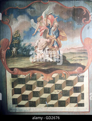 fine arts, religious art, painting, 'The Binding of Isaac', wall board of a inn in Tannheim Valley, Tyrol, oil on wood, 2nd half 18th century, Bavarian National Museum, Munich, , Artist's Copyright has not to be cleared