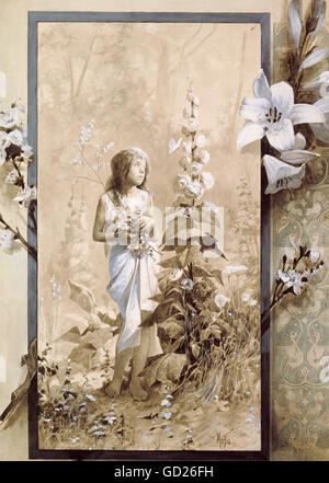 fine arts, Mucha, Alphonse (1860 - 1939), painting, young girl, , Artist's Copyright has not to be cleared - Stock Photo