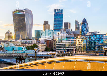 Financial district of London at Sunset including The Gherkin, Fenchurch building and Leadenhall building. - Stock Photo