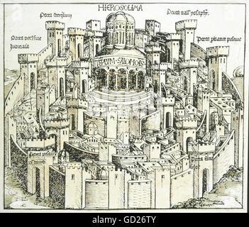 geography / travel, Israel, Jerusalem, view, woodcut of Michael Wolgemut or Wilhelm Pleydenwurff, chronicle of Hartmann - Stock Photo