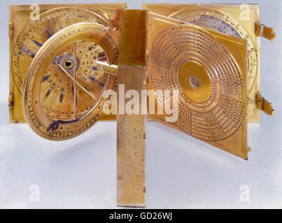 clocks, sundials, compass, horizontal sundial, Horologium and other instruments, from the property of Emperor Maximilian - Stock Photo