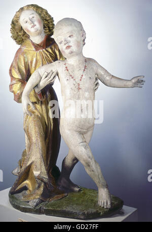 fine arts, religious art, statuary, angel with baby Jesus, wood, coloured, height: 70,5 cm, Southern Germany, circa - Stock Photo