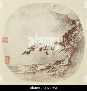 fine arts, painting, wise man sitting under a pine tree, Indian ink on silk, China, Ma Yuan, Song Dynasty (960  - Stock Photo