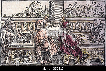 game, parlour games, 'Von dem Brettspiel und Schachzabel' (About the board game and chess), woodcut, coloured, by - Stock Photo