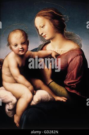 fine arts, Raphael, (Raffaello Sanzio da Urbino), (1483-1520), painting, 'Grande Madonna Cowper', 1508, oil on canvas, - Stock Photo