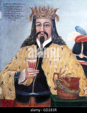 alcohol, beer, King Gambrinus, alleged inventor of beer brewing, picture, painting, oil on wood panel, unknown painter, - Stock Photo
