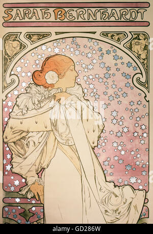 fine arts, Mucha, Alphonse (1860 - 1939), poster, detail from an advertising poster of the Theatre de la Renaissance, - Stock Photo