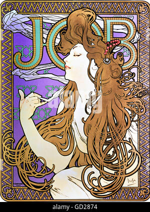 fine arts, Mucha, Alphonse (1860 - 1939), poster, advertising poster for 'Job' cigarettes, colour lithograph, Paris, - Stock Photo