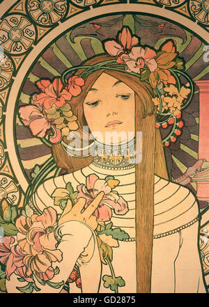 fine arts, Mucha, Alphonse (1860 - 1939), poster, advertising poster for 'La Trappistine' liqueur, colour lithograph, - Stock Photo