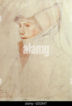 fine arts, Hans Holbein the Younger (1497/1498 - 1543), drawing, portrait of Dorothea Meyer nee Kannengiesser, study - Stock Photo