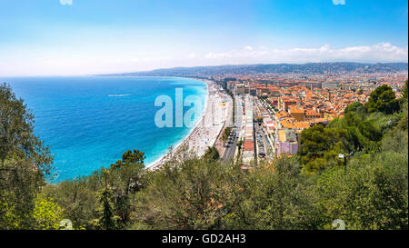 Beautiful panoramic aerial view of beach in City of Nice in sunny summer day. Cote d'Azure, France - Stock Photo