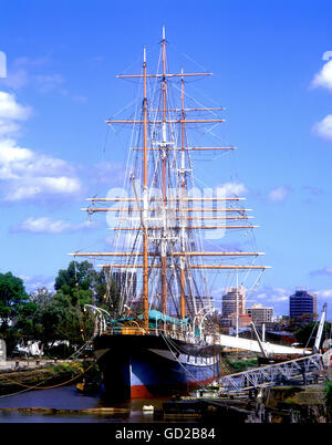 Australia Victoria Melbourne `The Polly Woodside' a restored British built three masted  iron-hulled barque, centre - Stock Photo