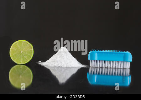 Natural cleaning tools lemon and sodium bicarbonate for house keeping - Stock Photo