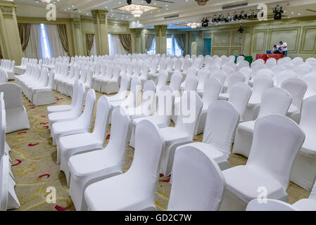 White Wedding Chairs In A Hall