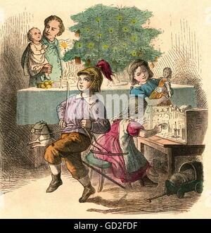 Christmas,Christmas Eve,distribution of presents,family,Germany,circa 1860,Christmas presents,Christmas gifts,present,presenting,father,fathers,father - Stock Photo