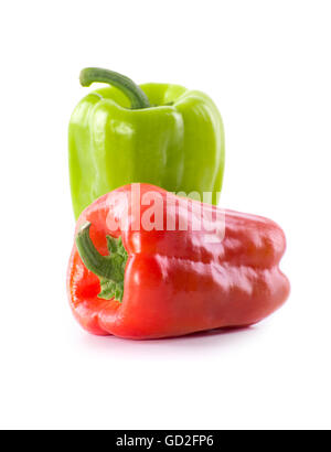 Fresh Green and Red Pepper Isolated on White Background - Stock Photo