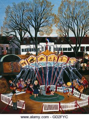 fine arts, Spieß, Erika, painting, 'merry-go-round', (Karussell), 1972, oil on hardboard, Artist's Copyright must - Stock Photo
