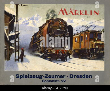 toys, model railroad, Maerklin catalogue 1934/1935, with dealer imprint Spielzeug-Zeumer, Dresden, Germany, 1934, - Stock Photo