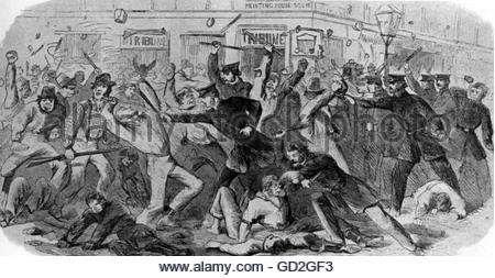 American Civil War 1861 - 1865, politics, New York City draft riots, 13. - 16.7.1863, rioters fighting with the - Stock Photo
