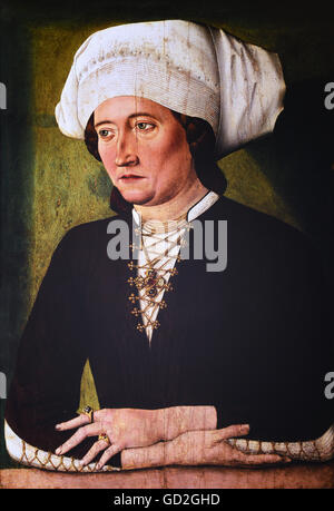 people, women, Middle Ages, picture of a bourgeoise, painting, circa 1475, Additional-Rights-Clearences-NA - Stock Photo