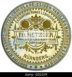 food, Nuremberg gingerbread, made by F. G. Metzger, Royal Bavarian Gingerbread & Chocolade Manufacturer, Nuremberg, - Stock Photo