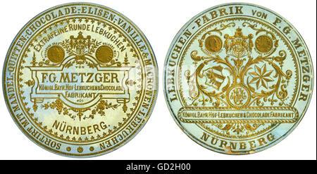 food, Nuremberg gingerbread, made by F. G. Metzger, Royal Bavarian Gingerbread & Chocolade Manufacturer, Nuremberg, - Stock Photo