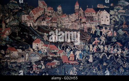 fine arts, tapestry, life in front of the city of Bischofszell, Eastern Switzerland, circa 1535, wool, stitched, - Stock Photo