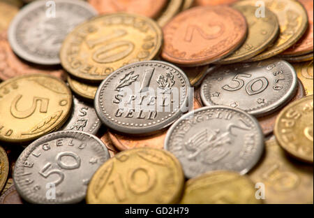 money / finances, coins, Germany, German Mark, pfennig, play money, very close designed to the genuine coins, Germany, - Stock Photo