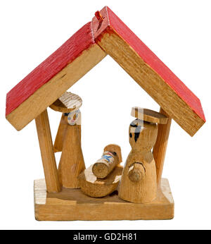 Christmas, cribs, very small Nativity scene, height: only 4cm, Germany, circa 1980, Additional-Rights-Clearences - Stock Photo
