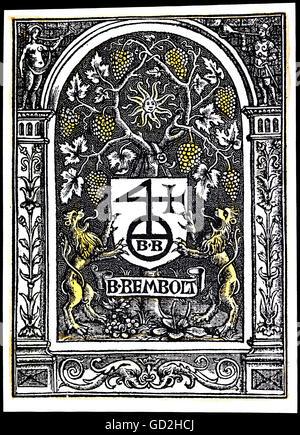 technics, letterpress / media, publisher's mark, Bertold Rembolt (+ 1519), coloured woodcut, Paris, 1512, Additional - Stock Photo
