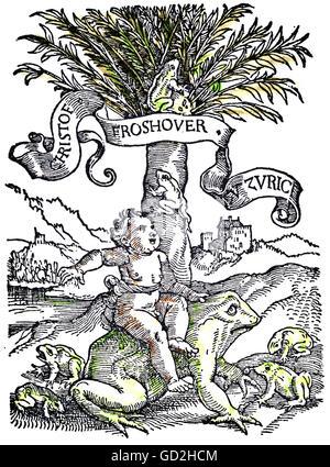 technics, letterpress / media, publisher's mark, Christoph Froschauer (circa 1490 - 1564), coloured woodcut, from: - Stock Photo