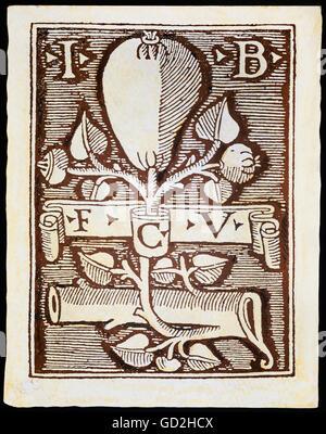 technics, letterpress / media, publisher's mark, Lucantonio Giunta, woodcut, Venice, 1489, Additional-Rights-Clearences - Stock Photo