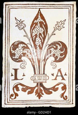 technics, letterpress / media, publisher's mark, Giovanni Antonio de Benedictis, woodcut, Bologna, circa 1510, Additional - Stock Photo
