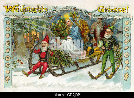 Christmas, Christmas greetings, the Christ Child is driving at night on a sleigh through the snow-covered forest, - Stock Photo