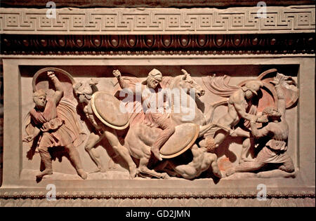 fine arts, Alexander sarcophagus from the Imperial necropolis of Sidon, marble, 325 BC, collection of antiques, - Stock Photo