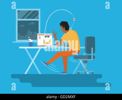 Young man reading a new email on the laptop midnight. Concept flat illustration of fishing attack via spam with - Stock Photo