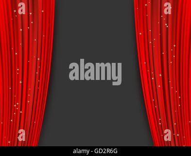 red theater curtains with glitter. abstract background - Stock Photo
