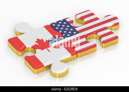 USA and Canada puzzles from flags, relation concept. 3D rendering - Stock Photo