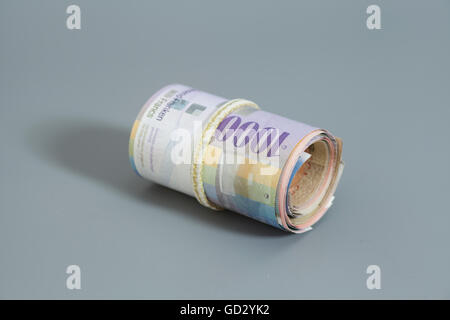 Swiss thousand francs in a roll on gray background - Stock Photo