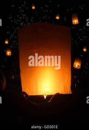 Sky lanterns firework festival, Loy Krathong, Thailand. Loy Krathong is where floating lamp ceremony takes place - Stock Photo