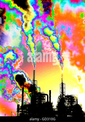 Pollutants and carbon emmissions being released into the atmosphere from a Petrochemical works At Seal Sands on - Stock Photo