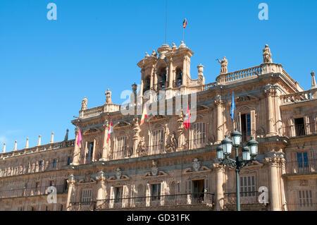 Facade of town hall. Main Square, Salamanca, Spain. - Stock Photo