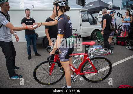 09 July 2016 Dani King Woman British Cyclist Olympian at the Red Hook Criterium in London Greenwich Peninsula Cervelo - Stock Photo