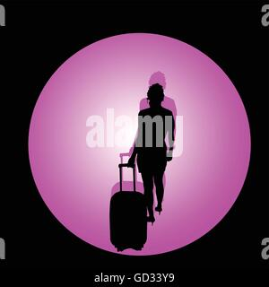 girl with travel bag color vector illustration - Stock Photo